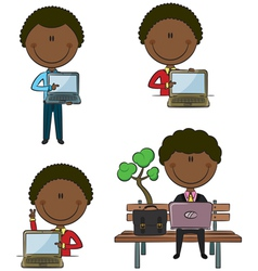 African-American businessman with laptop vector image
