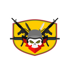 army logo skull soldiers badge military emblem vector image