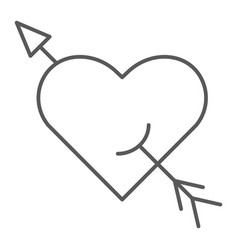 arrow and heart thin line icon romance and love vector image