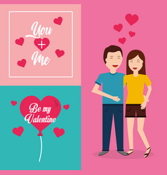 be my valentine couple smiling hugging card vector image