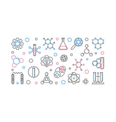 biochemistry linear concept banner or vector image