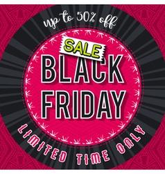 Black friday sale banner on red patterned backgrou vector