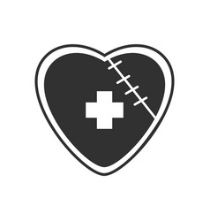 Black icon on white background sewn heart vector