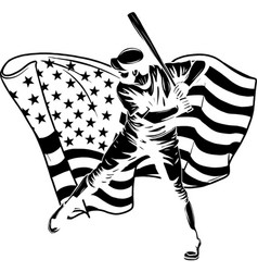 black silhouette baseball player with american vector image