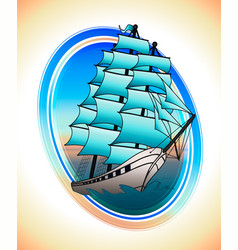 Blue sails ship in a circle draw vector