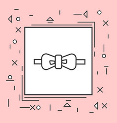 bow tie icon thin line in pink frame vector image