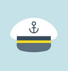 Captain sailor hat icon flat design vector