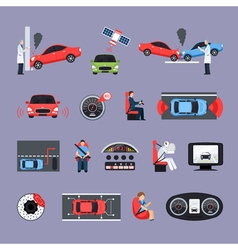 Car Safety Systems Icons Set vector image