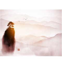 Chinese landscape with small house on high hill in vector