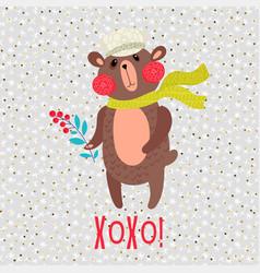 christmas teddy bear greeting card vector image