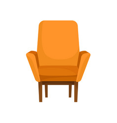 classic wooden armchair with orange upholstery vector image