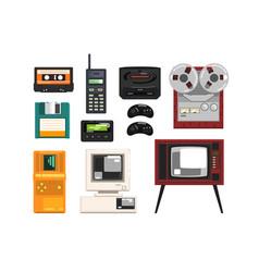 collection retro technique audio music vector image