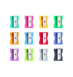 colorful plastic pencil sharpeners set vector image