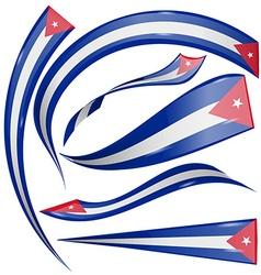 Cuba flag set vector
