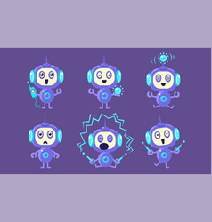 cute robot character set adorable robotics in vector image