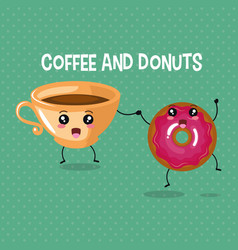 Delicious coffee cup and donuts kawaii character vector