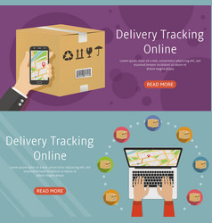 Delivery online tracking two horizontal background vector