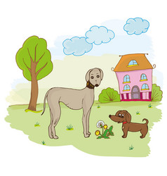 Dogs on the lawn next to the house and the tree vector