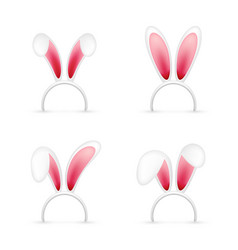 Easter bunny ears pink and white mask with rabbit vector