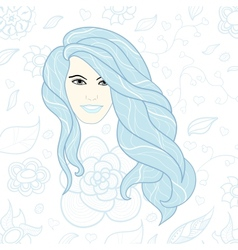 Face of beautiful girl with long curly hair vector image