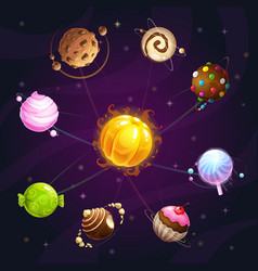 fantasy cartoon solar system with candy planets vector image