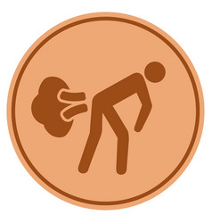 Fart gases bronze coin vector