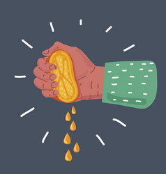 Female hand squeezing half lemon vector