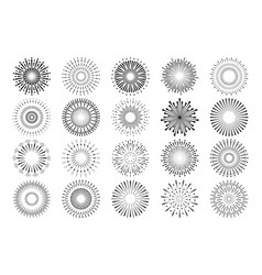 Fireworks icons sunburst rays and explosion vector