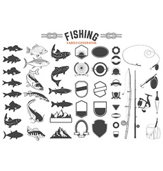 Fishing labels generator vector