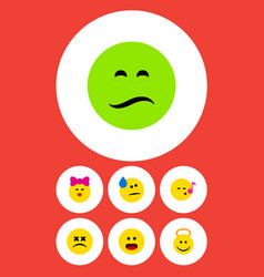 Flat icon face set of descant cross-eyed face vector