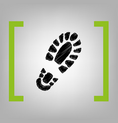 footprint boot sign black scribble icon vector image