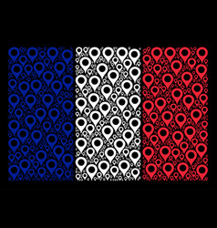 french flag mosaic of map marker items vector image