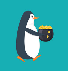 Funny penguin antarctic bird with pot filled vector