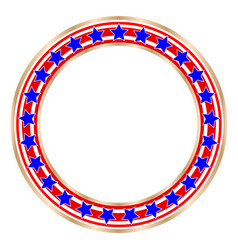 Golden round frame with american symbols vector