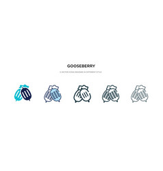 Gooseberry icon in different style two colored vector
