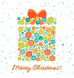 Greeting card with christmas gift vector image