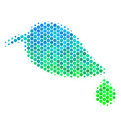 halftone blue-green natural leaf with drop icon vector image