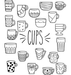 Hand drawn colorful cups mugs bowls vector