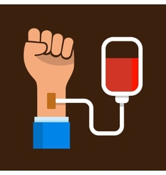 Hand with blood bag donation icon vector