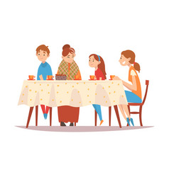 happy family sitting at kitchen table drinking vector image