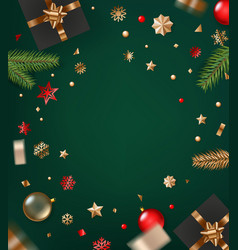 holiday greeting frame banner with golden bauble vector image