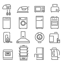 House Appliances Black White Icons Set vector