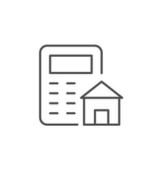 House calculating line outline icon vector