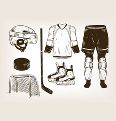 Ice hockey equipment engraving vector