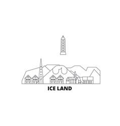 Iceland line travel skyline set iceland outline vector