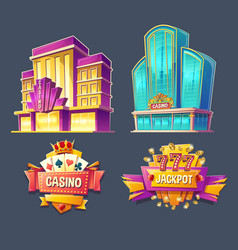 icons of casino buildings and signboards vector image