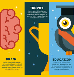Icons set graduate owl vector