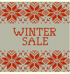 knitted winter sale template banner eps 10 vector image