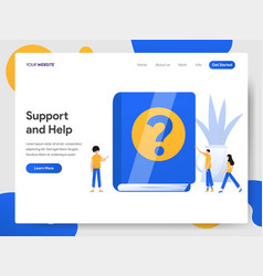 landing page template support and help vector image