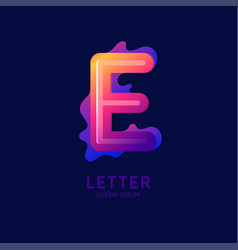 Letter e latin alphabet display vector